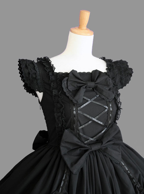 Cotton Black Lace Bowknot Gothic Lolita Sleeveless Dress