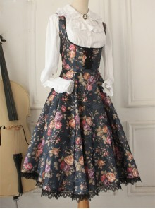 Retro Floral Printing Breast Care White Lace Classic Lolita Dress
