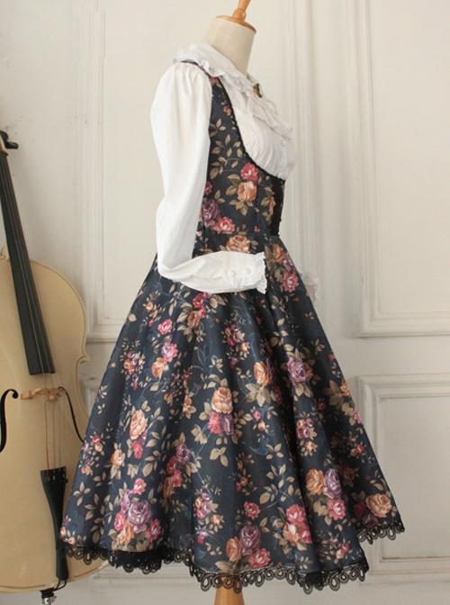 Retro Floral Printing Breast Care White Lace Classic Lolita Dress