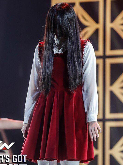 Pure Cotton White Shirt And Corduroy Red Sleeveless Dress Gothic Lolita Suit