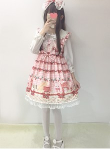 Plaid Strawberry Picnic Rabbit Series Sweet Lolita Sling Dress