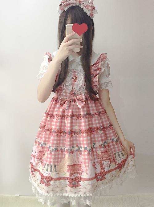 Plaid Strawberry Picnic Rabbit Series Sweet Lolita Sling Dress