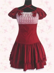Wine Red Elegance Lace Sweet Lolita Short Sleeves Dress