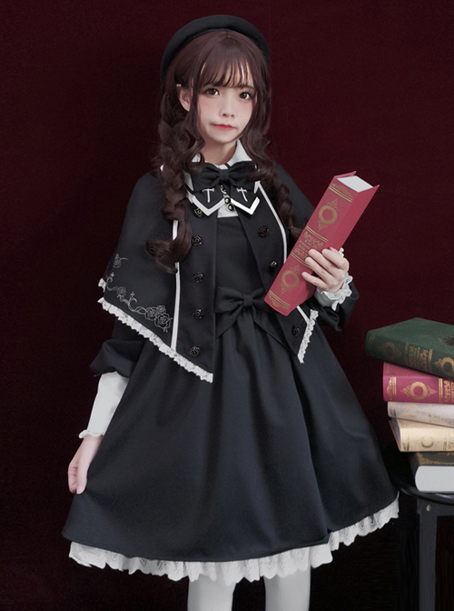 Late autumn Chapel Retro Gothic Lolita Long Sleeves Dress And Shawl