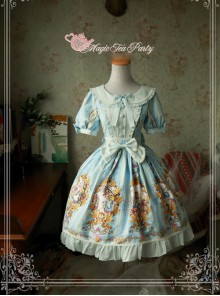 Magic Tea Party Alice Series Printing Sweet Lolita Short Sleeves Dress
