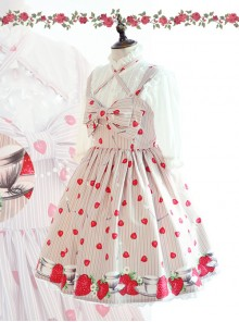 Fashion Strawberry Printing High Waist Light Brown Sweet Lolita Sling Dress