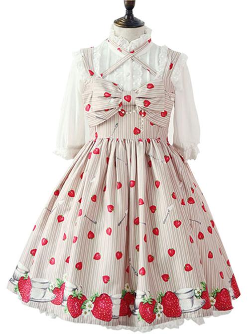 Fashion Strawberry Printing High Waist Light Brown Sweet Lolita Sling Dress