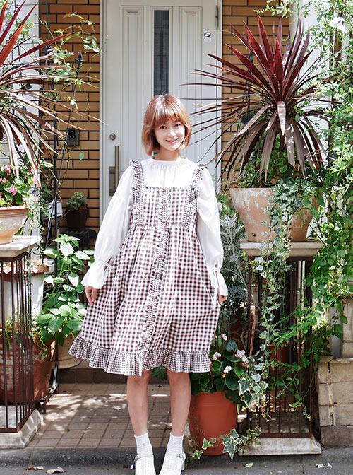 Mori Style Lattice Overskirt Sweet Lolita Sling Dress
