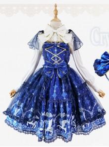 Fashion Pegasus Printing Blue Sweet Lolita Sling Dress