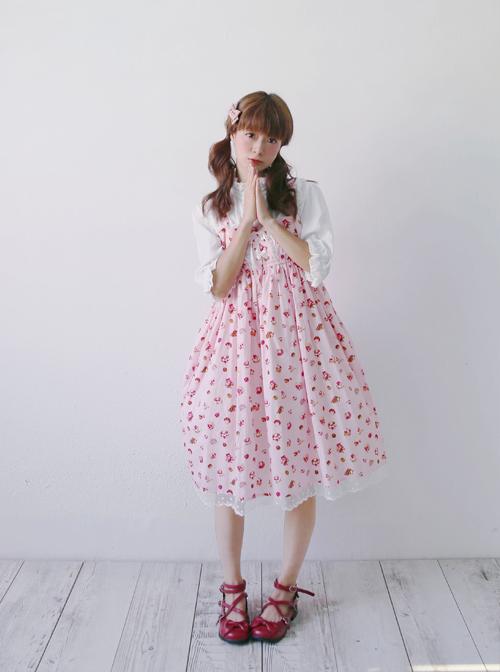 Strawberry Cup Cake Printing High Waist Sweet Lolita Sling Dress