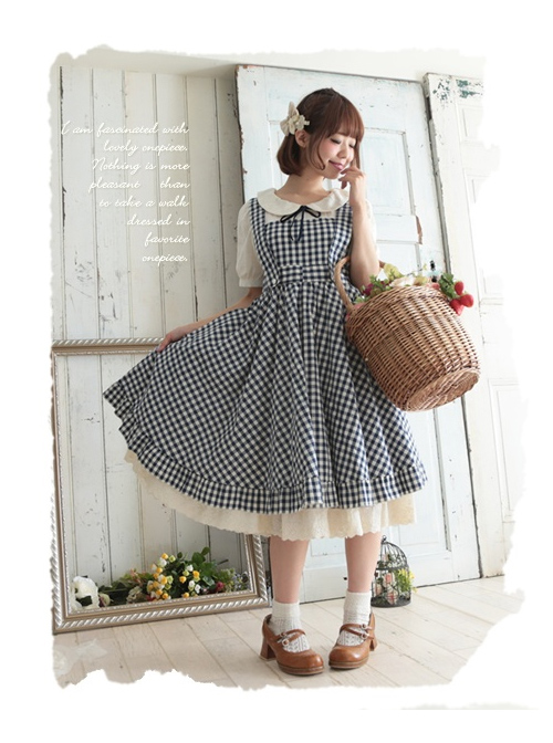 Pastoral Style Lattice Fake Two Pieces Sweet Lolita Short Sleeves Dress