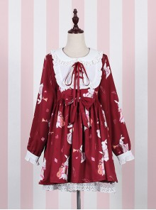 Fashion And Cheap Musical Instrument Rabbit Series Printing Sweet Lolita Long Sleeves Dress