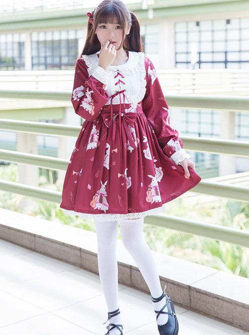 Fashion And Musical Instrument Rabbit Series Printing Sweet Lolita Long Sleeves Dress
