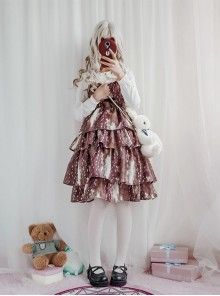 Daily Fawn Pattern Sweet Lolita Sling Cake Dress