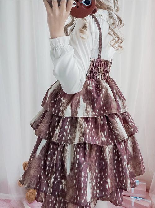 Daily Fawn Pattern Sweet Lolita Sling Cake Dress