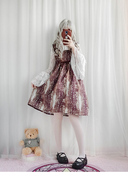 Daily Fawn Pattern Sweet Lolita Fly Sleeves Dress