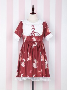Fashion Musical Instrument Rabbit Series Printing Sweet Lolita Short Sleeves Dress