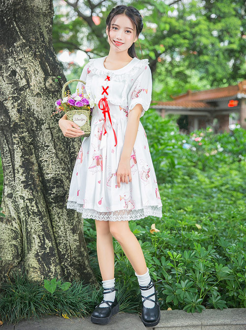 Fashion Musical Instrument Rabbit Series Printing Sweet Lolita Short Sleeves Dress