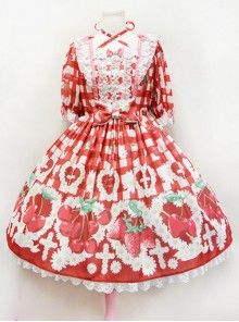 Fashion Cherry Red Strawberry High Waist Sweet Lolita Short Sleeves Dress