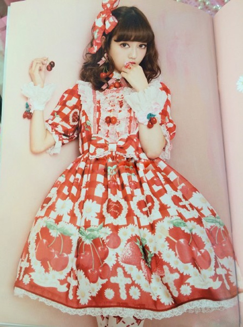 Fashion Cherry Red Strawberry High Waist Sweet Lolita Short Sleeves Dress
