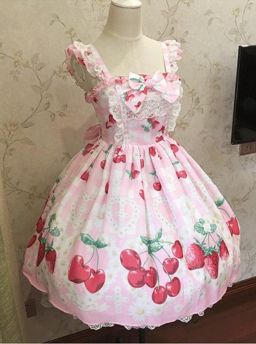 Fashion Cute Cherry Red Strawberry High Waist Sweet Lolita Sling Dress