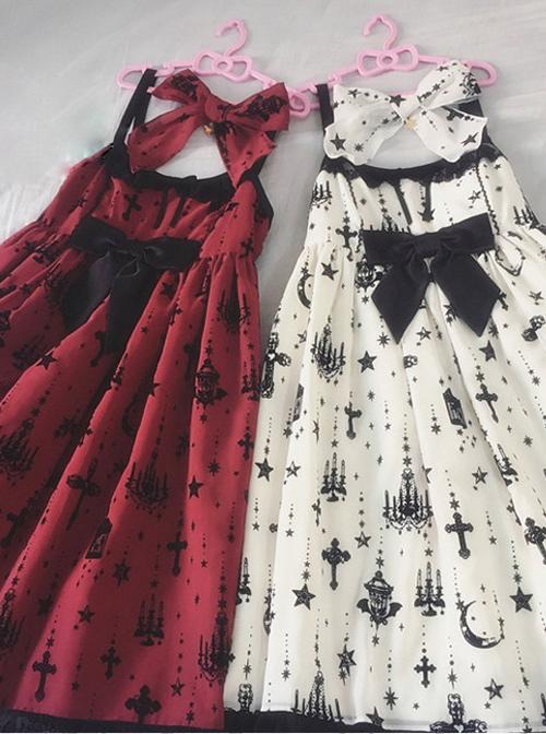 Fashion Sacred Lamp Series High Waist Gothic Lolita Sling Dress