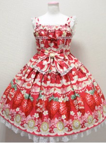 Fashion Cute Strawberry Printing Lace Bowknot Sweet Lolita Sling Dress