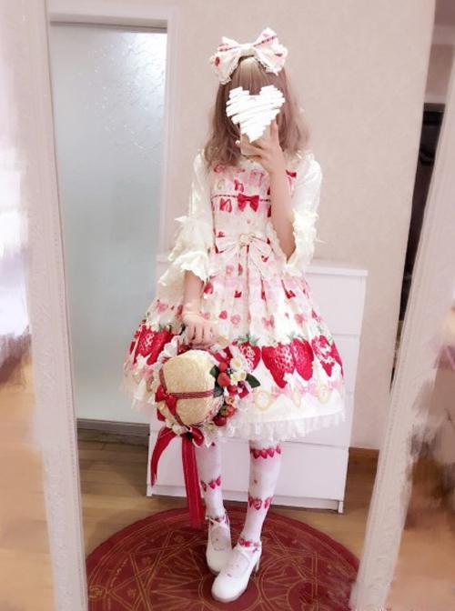 Fashion Cute Strawberry Printing Lace Bowknot Sweet Lolita Sling Dress