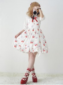 Fashion Strawberry Cat Printing Cute Sweet Lolita Sling Dress