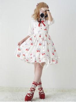 Fashion Strawberry Cat Printing Cute Sweet Lolita Sling Dress