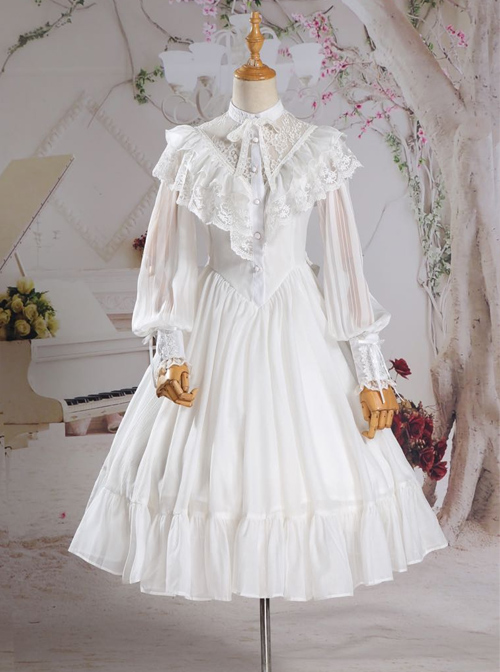 Palace Style Retro Fake Two Pieces Lace Embroidery Classic Lolita Dress