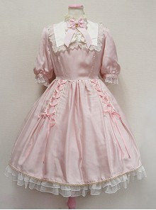 Cute Retro Pink Lace Bowknot Sweet Lolita Short Sleeves Dress