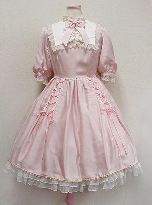 Cute Retro Pink Lace Bowknot Sweet Lolita Short Sleeves Dress