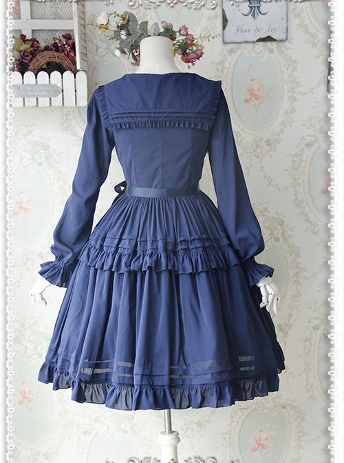 Lily Series Chiffon Long Sleeves Concise Classic Lolita Dress