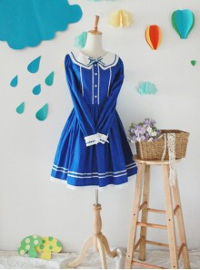 The Seaside Story Series Navy Style Navy Blue Sweet Lolita Long Sleeve Dress