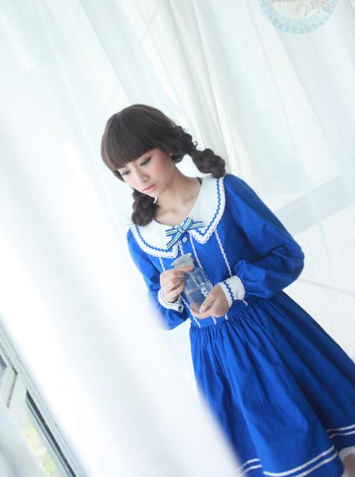 The Seaside Story Series Navy Style Navy Blue Sweet Lolita Long Sleeve Dress