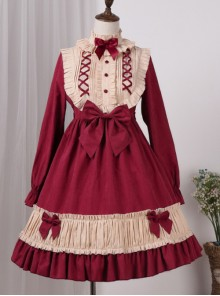 Cotton Lace Long Sleeves Bowknot Sweet Lolita Dress