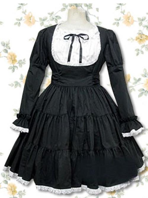 Pure Cotton Black-white Long Sleeves Flounced Gothic Lolita Dress