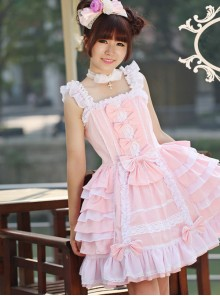 Cotton Chiffon Bowknot Square-neck Sleeveless Sweet Lolita Dress