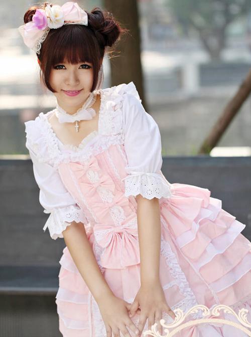Cotton Chiffon Bowknot Square-neck Sleeveless Sweet Lolita Dress