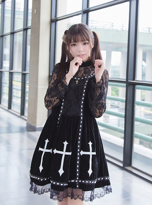 Crucifix Embroidery Lace Velvet Retro Gothic Lolita Dress