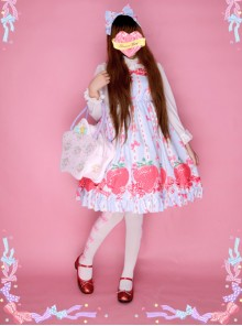 Bowknot Big Strawberries Sweet Lolita Sling Dress