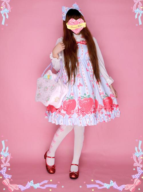 Bowknot Big Strawberries Sweet Lolita Sling Dress