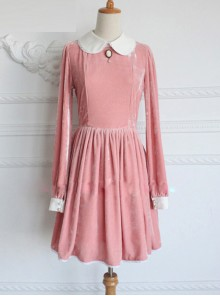 Retro Pink Pleuche Round Collar Long Sleeves Classic Lolita Dress