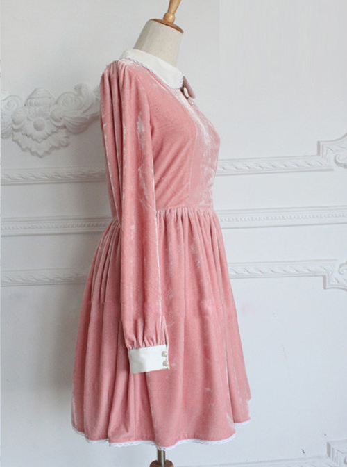 Retro Pink Pleuche Round Collar Long Sleeves Classic Lolita Dress