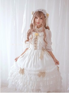 Chiffon Bowknot Lace Little Turtleneck Sweet Lolita Short Sleeves Dress