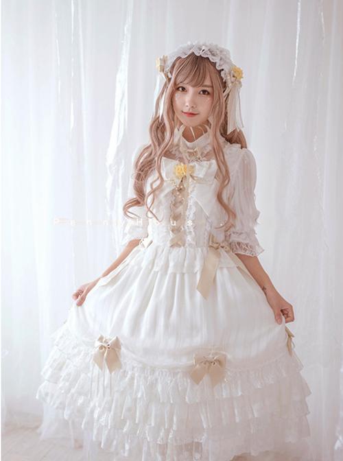 Chiffon Bowknot Lace Little Turtleneck Sweet Lolita Short Sleeves Dress