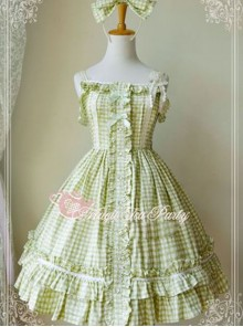 Magic Tea Party Fragrant Summer Series Heart Pattern Plaid Sweet Lolita Light Green Sling Dress