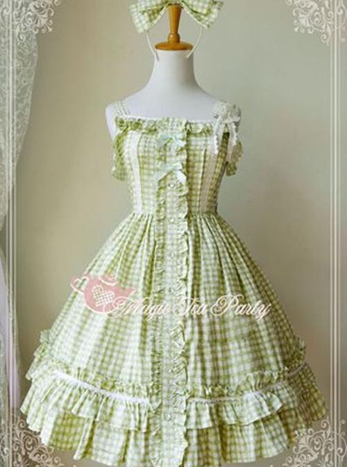 Magic Tea Party Fragrant Summer Series Heart Pattern Plaid Sweet Lolita Light Green Sling Dress