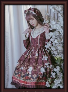 Pokerland's Bunnies Series Wine Red Sweet Lolita Long Sleeve Dress
